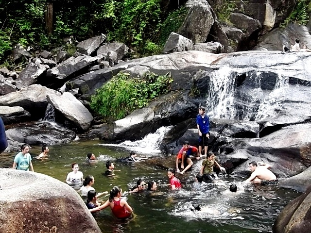 Swimming at Seven Well Waterfall
